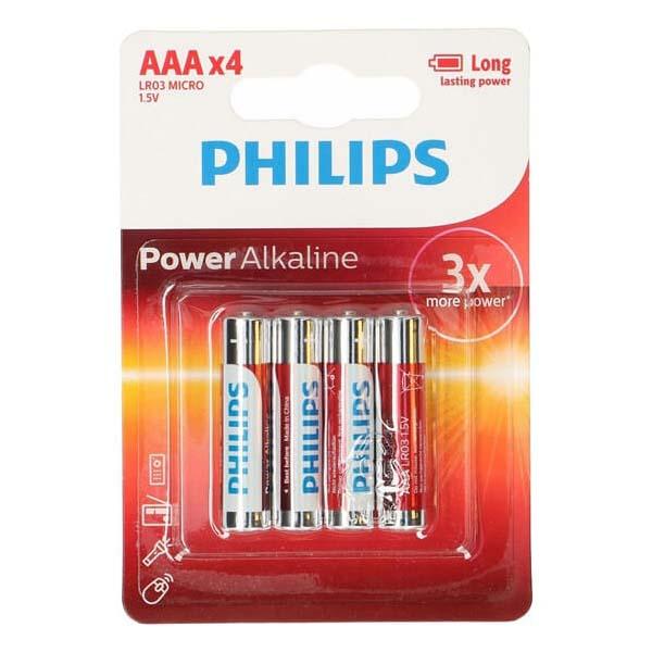 Afbeelding van Batterij AAA 4 Stuks Philips Alkaline
