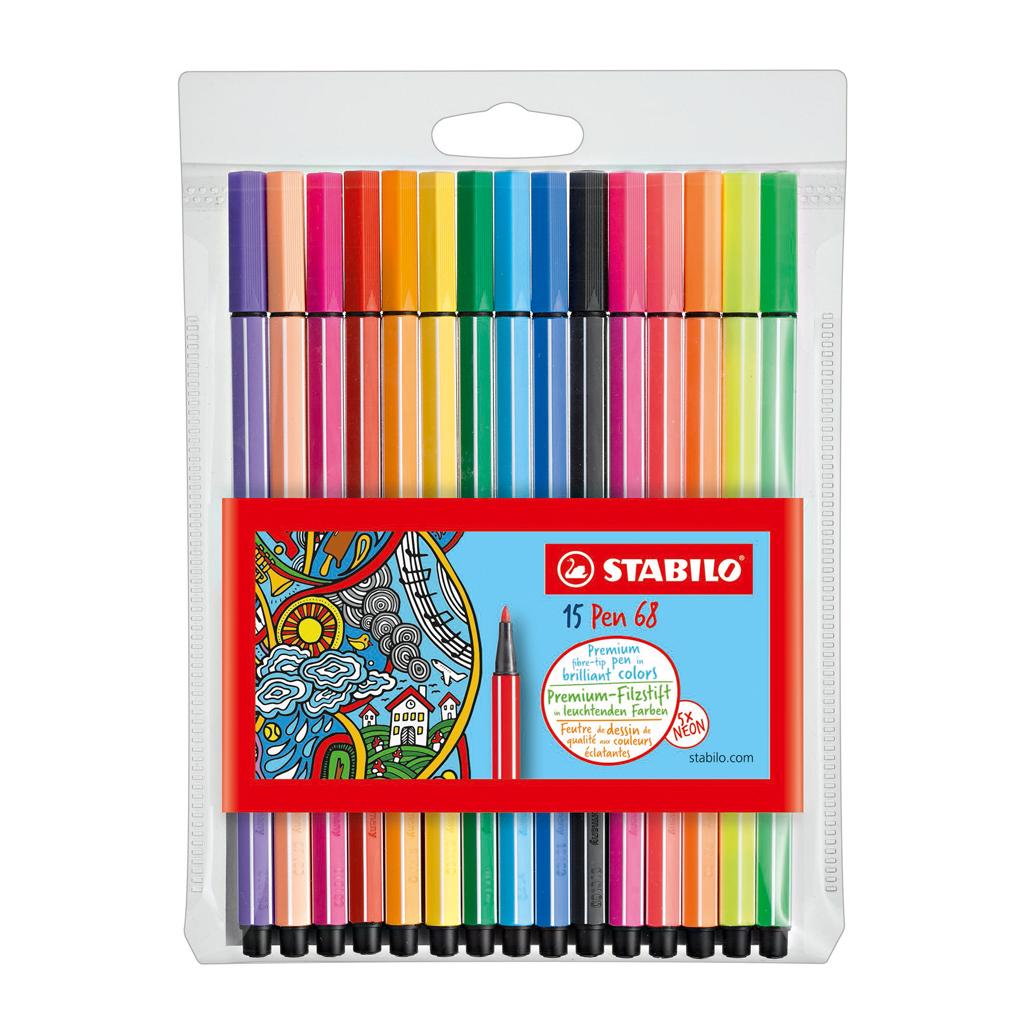 Afbeelding van Viltstiften Stabilo Pen 68 10 Stuks + 5 Neon
