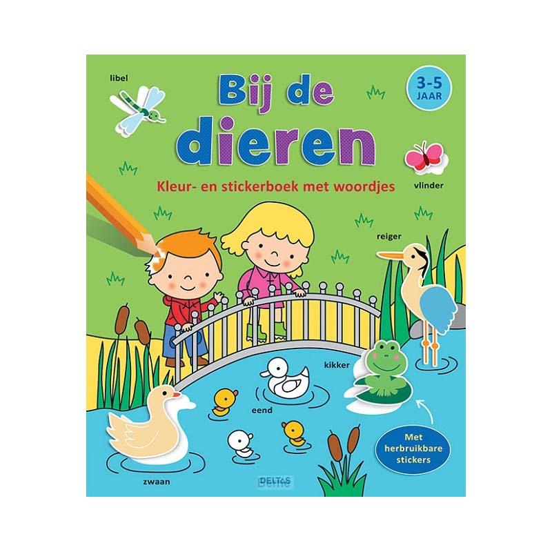 Afbeelding van Boek Kleur-Stickerboek Bij De Dieren