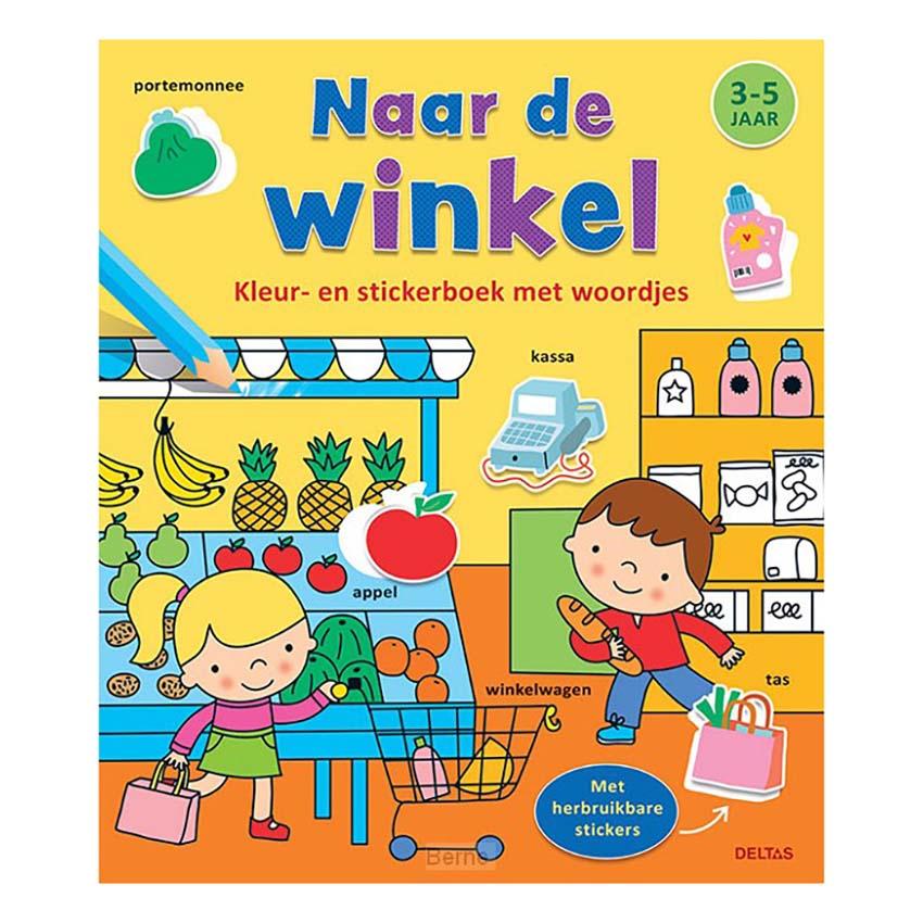 Afbeelding van Boek Kleur-Stickerboek Naar De Winkel