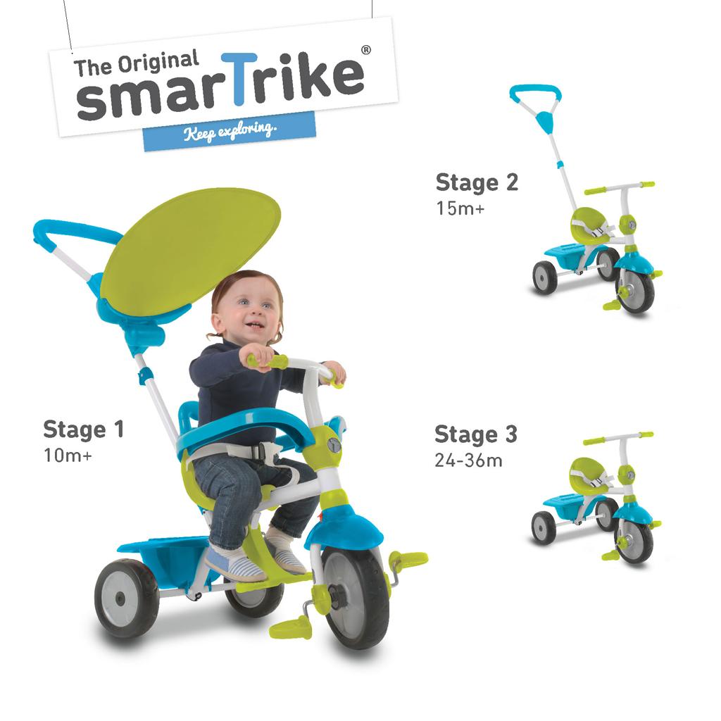 Afbeelding van Driewieler 3-In-1 Smart Trike Zip Groen Blauw