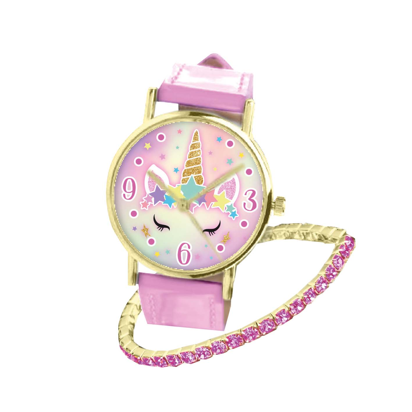 Afbeelding van Unicorn Horloge Analoog + Armband Roze