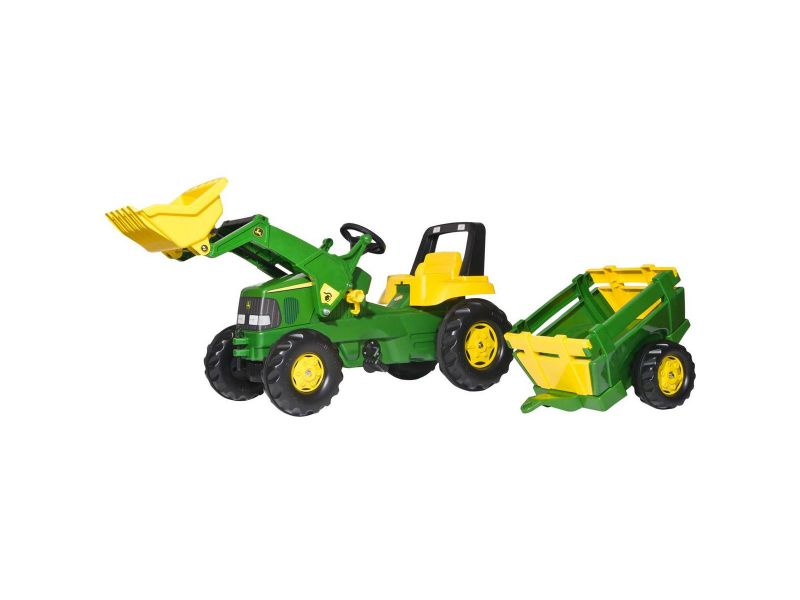 Rolly Toys Tractor JD Met Lader En Aanhanger