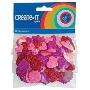 Hobbyset Create-it Foam Hartjes Glitter