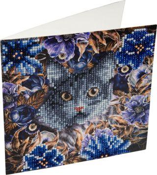 Crystal Art Kaart Kat En Bloemen 18 X 18 Cm