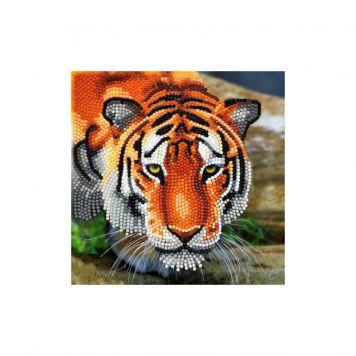 Crystal Art Kaart Tijger 18 x 18 Cm