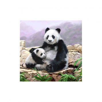 Crystal Art Kaart Panda 18 X 18 Cm