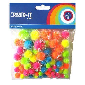 Creat-It Pompoms Glitter Neon Mix 75 Stuks