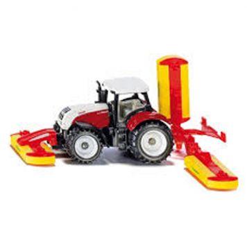 Siku Tractor Steyr Met Pöttinger Maaimachine