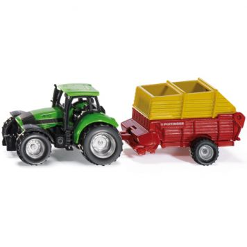 Siku Tractor + Pöttinger Opraapwagen