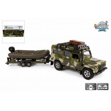 Auto Diecast Land Rover Met Boot Militair