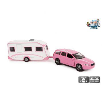 Auto Diecast Volvo V70 Roze Met Caravan