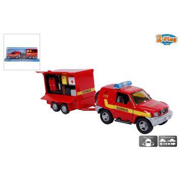 Auto Feuerwehr Met Aanhanger