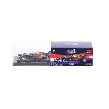 Burago Auto 1:43 Max Verstappen Red Bull RB16 + Helm in Luxe Bewaarcase.