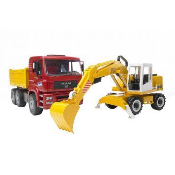 Bruder MAN TGA Vrachtwagen Met Liebherr Graafmachine