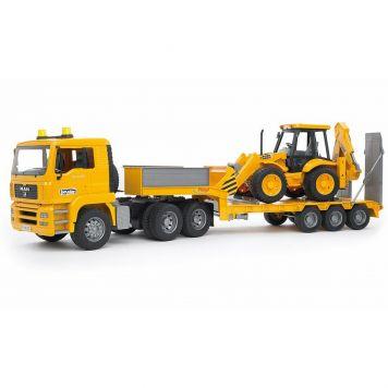 Bruder Vrachtwagen MAN TGA Dieplader Met JCB 4CX Graaf-laadmachine