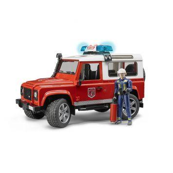 Bruder Auto Landrover Brandweer Met Figuur  Met Licht En Geluid