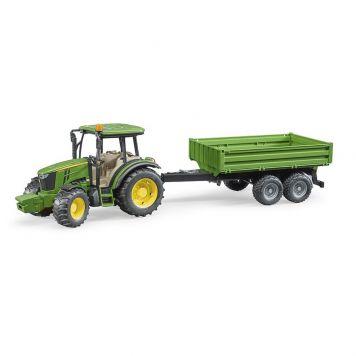 Bruder Tractor John Deere 5115M Met Aanhanger