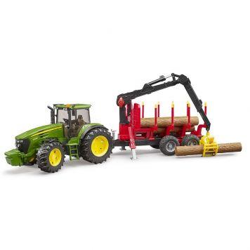 Bruder Tractor John Deere 7930 Met Bosbouw Aanhanger
