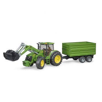 Bruder Tractor John Deere Met Aanhanger
