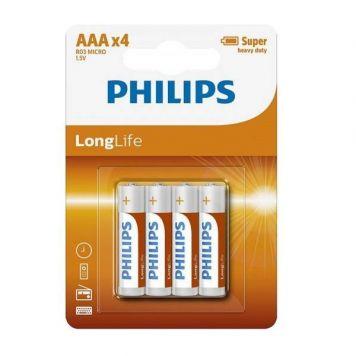 Batterij AAA 4 Stuks Philips Longlife