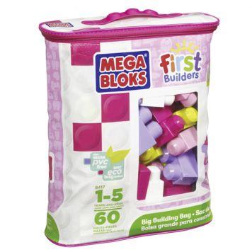 Fisher Price Mega Bloks First Builders Blokkentas  60 Stuks Roze