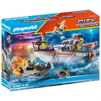 Playmobil 70140 Redding Op Zee: Brandbestrijdings missie Met Reddingskruiser