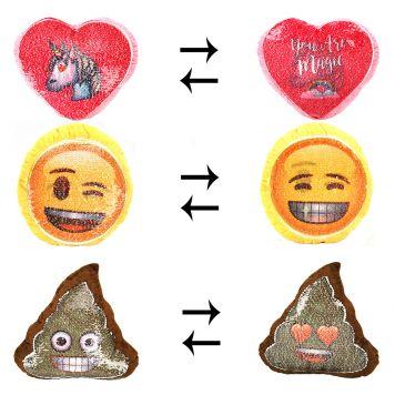 Emoji Shaped Sequin Kussen 3 Assorti