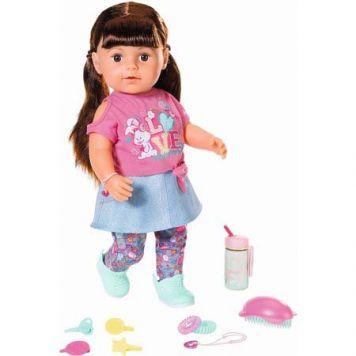 Pop Baby Born Sister Soft Touch Brown Hair Met Functies 43 Cm
