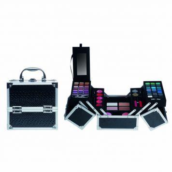Casuelle Make-up Koffer Vierkant Zwart Glans Krokodillenprint