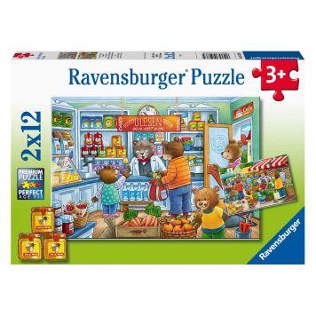 Puzzel Markt Supermarkt 2X12 Stuks