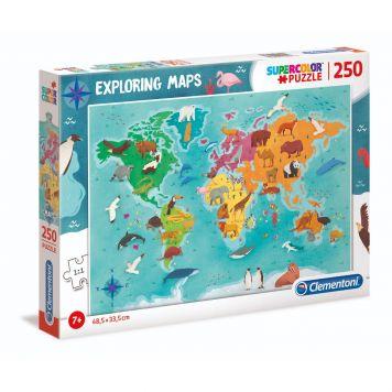 Clementoni Exploring Maps Puzzel 250 Stukjes Wereld Dieren