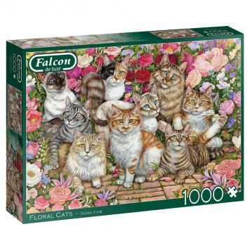 Puzzel Floral Cats 1000 Stukjes