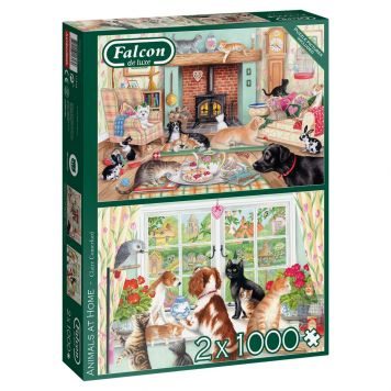Puzzel Falcon Animals at Home 2x1000 Stukjes