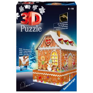 Puzzel 3D Gingerbread House Nacht