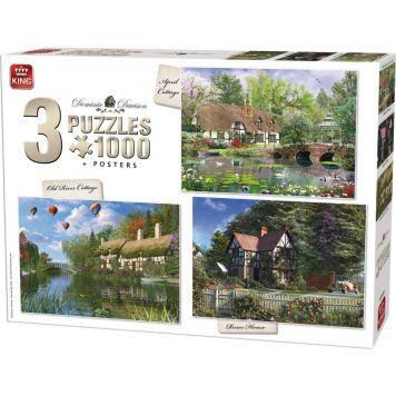 Puzzel 1000 Stukjes Cottage 3 In 1 Met Posters
