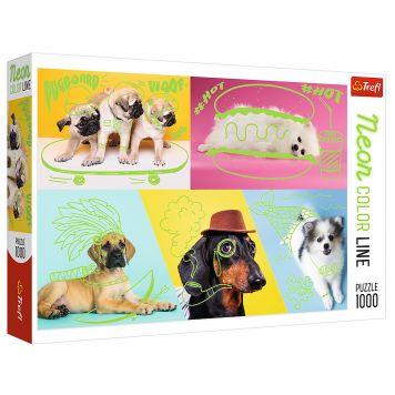 Puzzel Neon Dogs 1000 Stukjes