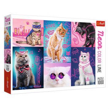 Puzzel Neon Cats 1000 Stukjes