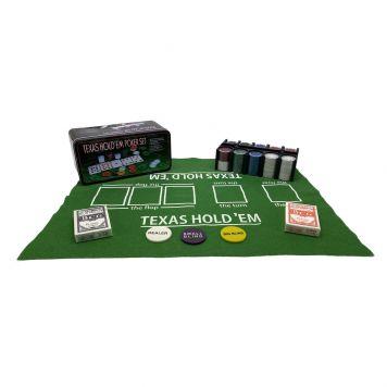 Pokerset In Blik 200 Delig Met Kleed En 2 Decks  Speelkaarten
