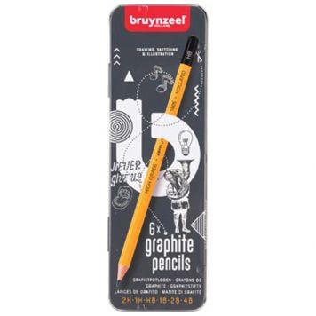 Grafietpotlood Bruynzeel Blik 6 Stuks