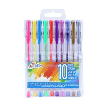 Gelpennen Neon-Glitter-Metallic 10 Stuks