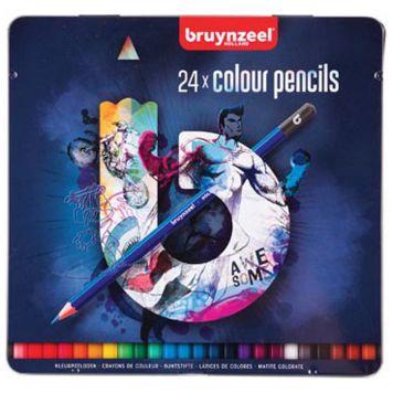 Kleurpotloden Bruynzeel Blik 24 Stuks Donker