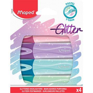 Tekstmarkers Glitter Pastel 4x Assorti Maped