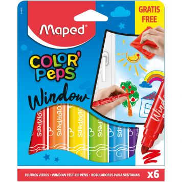 Viltstiften Window Paint 6 Kleuren Met Doekje