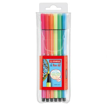 Viltstiften Stabilo Pen 68 Fluor Kleuren 6 Stuks