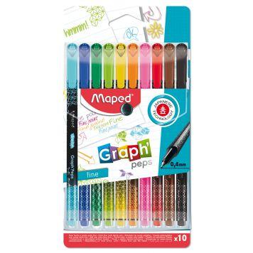 Viltstiften Fijnlijner 10 Kleuren 0,4 MM