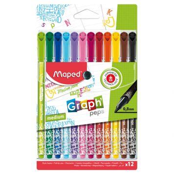 Viltstiften Fijnlijner 12 Kleuren 0,8 MM
