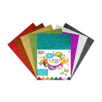 Glitterpapier A4 8 Stuks