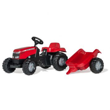 Rolly Toys Traptractor Massey Ferguson + Aanhanger