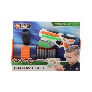 Tack Pro Crow I set met 14 Darts en accessoires 18 cm